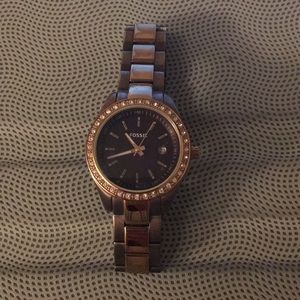 Fossil Watch Brown and Rose Gold Metal & Bling